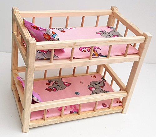 """Giocattolo di legno letto a castello per 2 bambole, montare bambole misura 14"""" lungo"""