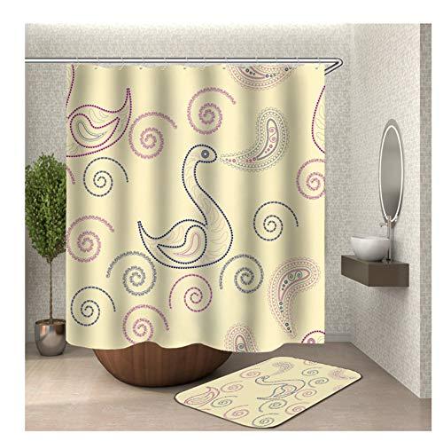 & Badteppich Set Anti-Schimmel aus Polyester Ente Muster Badewanne Vorhang Badteppiche Bunt mit 12 Duschvorhangringen für Badezimmer - 150x200CM ()