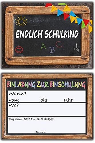 Einladungskarten Schulanfang Einschulung Schuleinführung Einladung Schultafel Set 10 Stück - 4