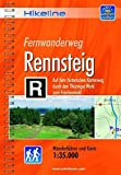 Hikeline Fernwanderweg Rennsteig, 169 km: Auf dem historischen Kammweg durch den Thüringer Wald zum Frankenwald. Wanderführer und Karte 1 : 35.000, wetterfest - Esterbauer