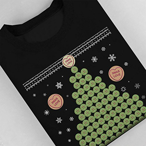 Love Hearts Sweets Christmas Tree Pattern Womens Sweatshirt Black
