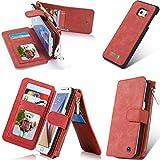 Rundumschutz Multifunktions-Echtleder [Große Kapazität] [2IN1 Abnehmbare Magnetadsorption] [Kartensteckplätze] [Reißverschluss Brieftasche] Fall Abdeckung für Samsung (Galaxy S6 Edge, Rot)