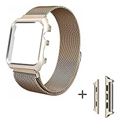 For Apple Watch Series 3 Band, Ibazal Apple Watch Strap 42mm Protective Case Upgraded Milanese Stainless Steel For All 42mm Apple Watch Series 3 & Series 2 & Series 1 Version - Gold 42mm