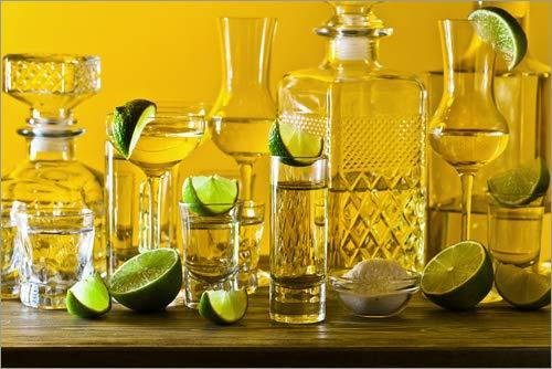 Posterlounge Acrylglasbild 150 x 100 cm: Gold Tequila, Limetten und Salz von Editors Choice - Wandbild, Acryl Glasbild, Druck auf Acryl Glas Bild -