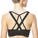 Yvette Damen Gekreuzte Rücken Große Größen Starker Halt Sport-BH Für Yoga Fitness-Training H0600003,Schwarz,2XL