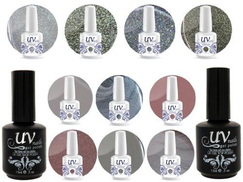 UV Nail Gel Profesionnel Collection Feng Shui 4 Paillettes Vibrante+6 Gels+Base&Top+Polissoir & Lime a Ongles Aviva