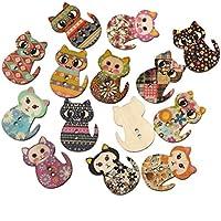 OULII Botones de madera 50pcs gato multicolor en forma de 2 agujeros madera impresión coser botones para coser y elaboración de BRICOLAJE (Color mezclado)