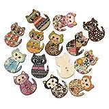 ROSENICE Bottoni in legno colorati a forma di gatti Pulsanti bottoni decorativi da cucire (100pcs)