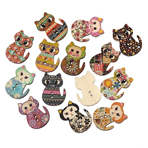 OULII 50pz bottoni in legno a forma di gatto multicolore