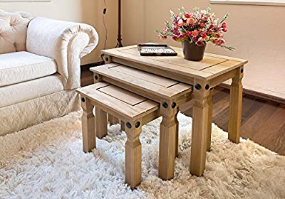 Nesting Tables | 3 Tables | Rustic Design | Corona Mexican Pine - cheap UK light shop.