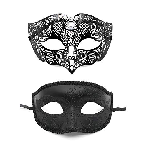 RecoverLOVE 2 Pack Paar Maskerade Maske Metall Masken Halloween Kostüm Maske Karneval Mardi Gras Prom Maske Dance Party Kostüme - Mardi Gras Dance Kostüm