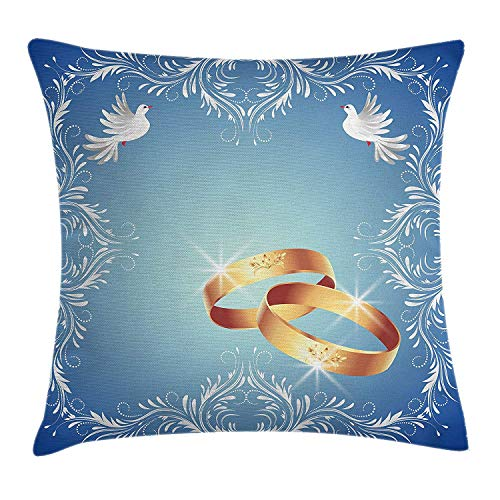 Trsdshorts Wedding Decorations Throw Pillow Cushion Cover, Ornament Frame and Two Flying Doves Heart Shapes Wedding Rings, Decorative Square Accent Pillow Case, 18 X 18 inches, Blue White Gold -