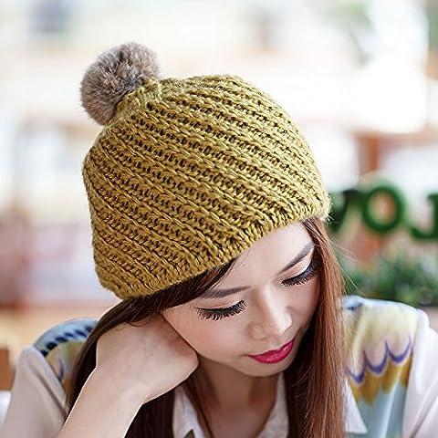 GAOYANQING Pelliccia di coniglio Han Fan palle maglia cappelli delle signore per Berets autunno/inverno moda selvaggia all'aperto , yellow - All'uncinetto Palle
