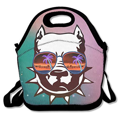Pit Bull mit cooler Sonnenbrille Seeing Strange handlicher tragbarer Reißverschluss Brandneue Lunchbox Wincan Wincan-Taschen