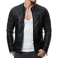 Redbridge Herren Jacke Übergangsjacke Biker Lederjacke Echtleder Kunstleder Baumwolle mit gesteppten Bereichen
