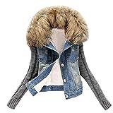 Jacke damen Kolylong® Frauen Elegant Denim Jacke Kurz Herbst Winter Warm Strickjacke mit Pelzkragen Mode Jeans Locker Sweatsh