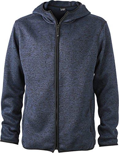 JN589 Kapuzenjacke aus Strickfleece in Melangeoptik Jacke , Größe:XL;Farbe:denim-melange/black