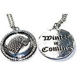 Game of Thrones GOT Winter Is Coming Stark Direwolf Dire Wolf Gift Bag Pendant Necklace Mens Womens Jewellery