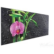 Wallario Küchen Rückwand | Glas Mit Motiv Bambus Und Pinke Orchidee Auf  Schwarzem Glas Mit