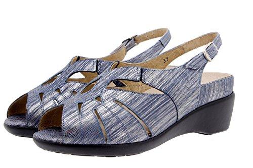 Komfort Damenlederschuh PieSanto 1152 Sandale mit herausnehmbarem Fußbett bequem breit Marino