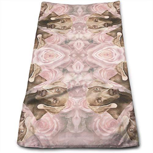 Tyueu Handtuch Gesicht Handtücher Roses Weimaraner Wallpaper Bath Towels for Bathroom-Hotel-Spa-Kitchen-Set - Circlet Egyptian Cotton - Highly Absorbent Hotel Quality Towels -