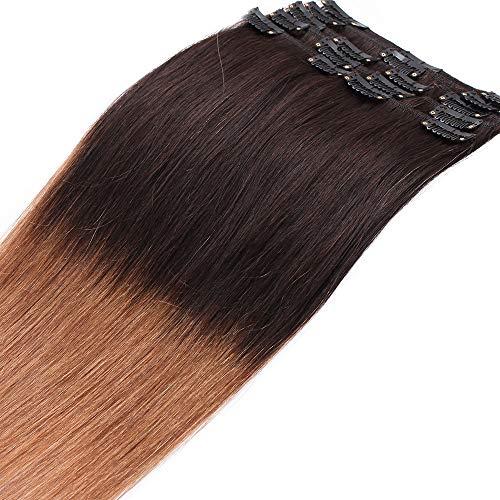 Extension clip capelli veri shatush con 18 clips 50cm - 100% remy human hair 8 fasce lisci naturali parrucca donna 70g #2t6 marrone ombre castano