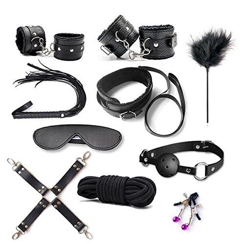 IBUYTOP Fesseln Kit 10 Stücke Fesseln System mit Multi-Stil Armbänder Set passt fast jede Größe Matratze, verstellbare weiche Pelz Leder Liebe Manschette, schwarz