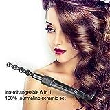 Frcolor 6in 1professionale capelli arricciacapelli arriccia intercambiabili ceramica. Guanto resistente al calore con spina UK (nero)