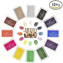 Almohadilla Tinta para Sello Tampón,Vicksongs 12 Colores Lavable Ink Pad Sello Para Niños DIY Huellas Dactilares, Niños No Tóxico