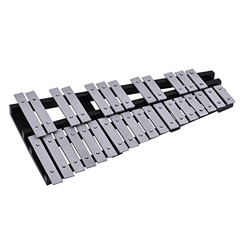 ammoon 30 Note Glockenspiel Xylophone Wooden Frame Aluminum Bars Foldable Educational Percussion Musical Instrument with Carrying Bag