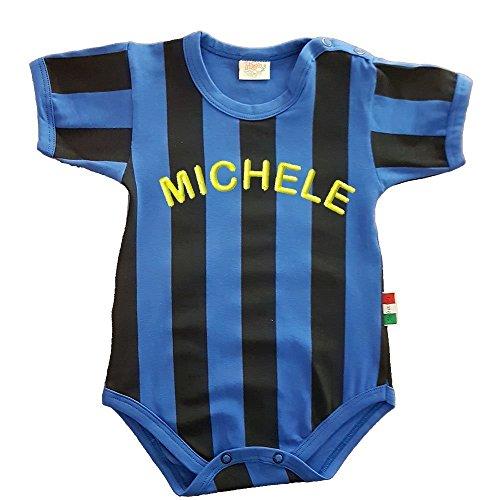 Zigozago - Body Spielanzug Baby mit schwarzen und blauen Streifen - 100% Baumwolle -