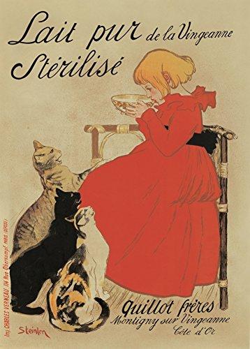 Vintage Café, thés et boissons chaudes Lait Pur de la Vingeanne Stériliser Lait, France C1896par Thophile-alexandre Steinlen 250g/m² Brillant Art carte Format A3