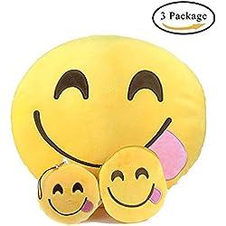 Emoji Peluche Emoji , Almohada Juguetes de Cojín Suave y Linda Decora (Comer Bienes)
