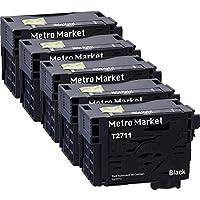 Metro Market 5 Negro Reemplazo para Epson 27XL Cartuchos de tinta Alta Capacidad para Epson WorkForce WF-3620DWF WF-7610DWF WF-3640DTWF WF-7110DTW WF-7620DTWF Impresora