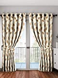 Home Spark Leaf 2 Pieces Polyester Brown Long Door Curtains - 9 feet