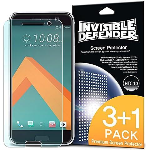 Protector de Pantalla HTC 10, Invisible Defender [3 + 1 Paquete / HD CLARIDAD] Alta definición (HD) Claridad Film Prima Extremadamente Clara para HTC