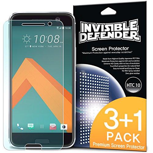 HTC 10 Schutzfolie Invisible Defender (4 Pack/ Maximale HD Klarheit) HTC 10 Displayschutz Lebenslange Garantie, perfekte Touch Präzision, High Definition (HD) Durchsichtige Folie für das HTC 10