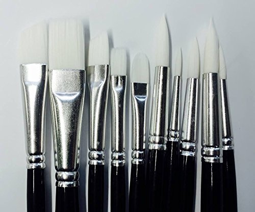 10-x-face-painting-brushes-round-and-flat-tip-art-paint-brush-glitter-quality