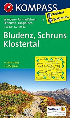 KOMPASS Wanderkarte Bludenz - Schruns - Klostertal: Wanderkarte mit Aktiv Guide, Radwegen, alpinen Skirouten und Loipen. GPS-genau. 1:50000: Wandelkaart 1:50 000 (KOMPASS-Wanderkarten, Band 32)