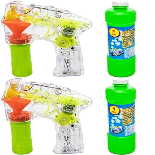 esto24 2er Set Seifenblasenpistole Bubble Gun mit Licht inkl 2 x 0,75 Liter Seifenblasenflüssigkeit