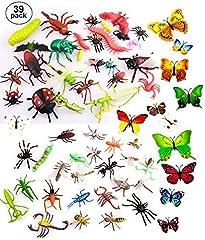 Idea Regalo - OOTSR 39pz Insetti in plastica per Bambini, Figure di Insetti Giocattoli con Adesivo da Parete Farfalla Colorata per l'istruzione / Giocattoli di Halloween / Feste a Tema / Regali di Compleanno