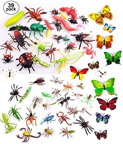 OOTSR 39 Piezas Insectos de plástico para niños, Figuras de Insectos con Etiqueta de la Pared de la Mariposa para la educación / Juguetes de Halloween / Fiestas temáticas / Regalos de cumpleaños