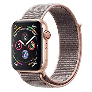 Apple Watch Series 4 (GPS + Cellular) con caja de 44 mm de aluminio en oro y correa Loop deportiva rosa arena