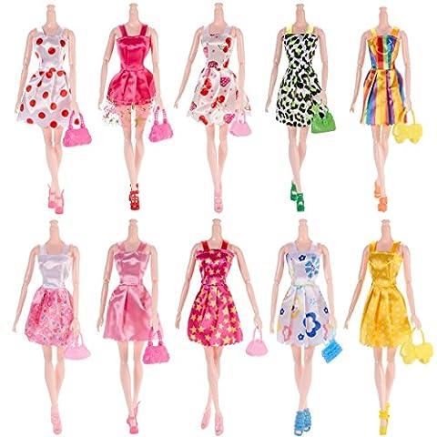 30pcs Barbie Doll Accessories=10pcs Handmade Wedding Dress+10 Pairs Shoes+10pcs Handbag Shoulderbag