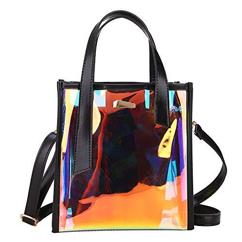 Lucky Star Transparent Paket Frau Single Schulter Umhängetasche Modetrend Super Feuer Gelee Handtasche,Black
