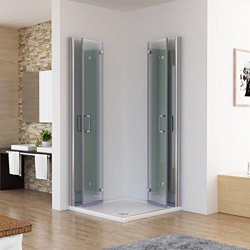 Duschkabine 90x80 Eckig Dusche Falttür 180º Duschwand Duschabtrennung NANO Glas 185cm DA