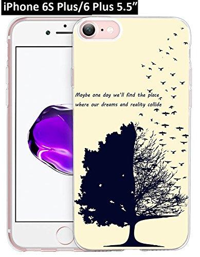 6S Plus Hülle Pfau, Ecute Weiche Slim Flexible Deutlich, Gummi Seite + Stil Harte Rückseite Fall für iPhone 6S Plus/für iPhone 6Plus 14cm-Blau Peacock-Color Blumen, 6S Plus/6 Plus-24