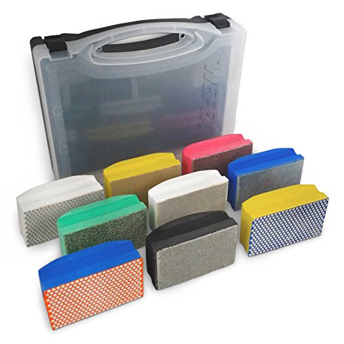 WEFEX Diamant-Handschleifpad Set 9-tlg. im Koffer für Granit, Natursteine, Kunststeine, Marmor, Glas, Keramik