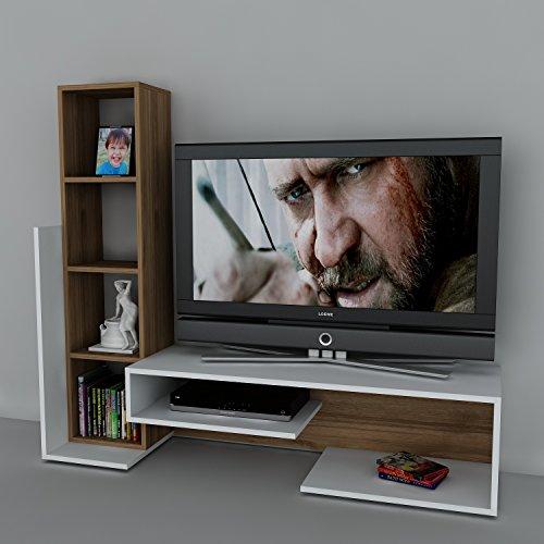 Wohnwand Anbauwand TV Medienwand Lowboard BEND in verschiedenen farben (Weiss-Walnussbraun) 2015 - 3