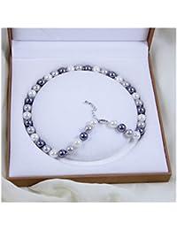 Schmuckwilly Muschelkernperlen Perlenkette Perlen Collier - multifarbig Hochwertige Damen Halskette aus echter Muschel 10mm mk10mm211